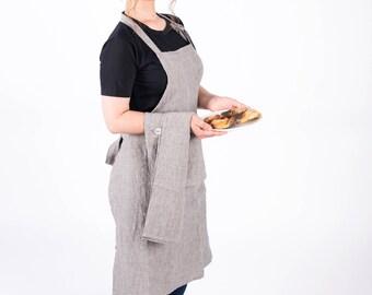 SAMPLESSALE! Linen Apron wrap apron natural flax apron cooking apron workshop apron striped color