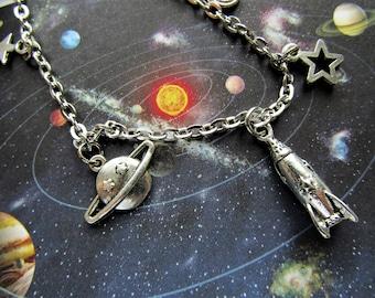 Space Travel Necklace, Rocket Ship Necklace, Planets Necklace, Galaxy Necklace, Space Necklace, Space Jewelry, Galaxy Jewelry, Space Jewelry
