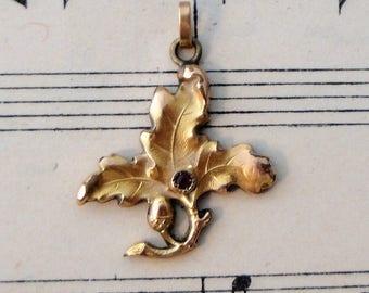 Antique French Art Nouveau Gold-filled Pendant Leaf c1910