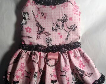 Pink Paris poodle ruffle harness