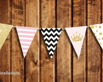 Birthday Banner Printable Girl, Banner Flags Cut File Pink Gold Glitter, Instant download printable party decoration