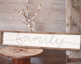 Handpainted Farmhouse Family Sign with Reclaimed Barnwood Frame