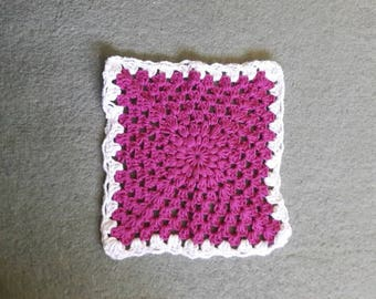 Pink and White Cotton Washcloth