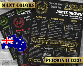 1958, Australian Version, Personalized 60th Birthday Chalkboard Poster,1958 Birthday Gift, 60 Years Ago, Custom Printable DIGITAL FILE Only