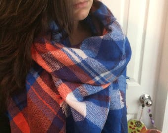 Splash of Orange plaid,Popular Trendy,Beautiful Multicolors Blanket Scarf for Women, Zara Tartan Inspired,Oversized Large Unique