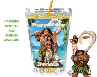 Moana Capri Sun Juice Label Birthday Party Favor