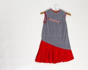 vintage 1950s girl's drop waist dress