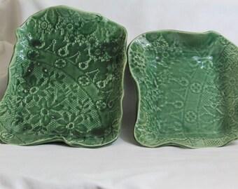 Pair of Handmade Ceramic Trays Green Lace Pattern