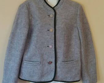 Vintage Austrian National Costume Blazer,Gray Wool Blazer,Dindrl Blazer,Long Sleeve Buttons Front Trachten Blazer,Bawarian Wool Jacket