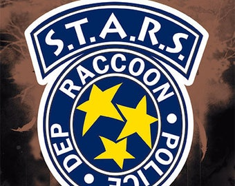 Resident Evil STARS Racoon Police Logo Stickers Decals for Cell Phone Tablet Laptop Console Vehicle Car Officially Licensed
