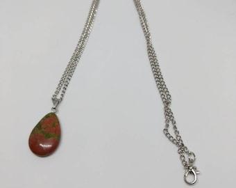 Silver plated unakite drop chain