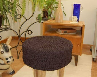 Knitted pouf ,Floor   Round Pouf -  Ottoman wooden legs, Footstool,Boho Furniture