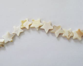 10 shell star beads - Christmas star beads -Mother of pearl beads