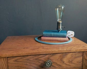 Vintage antique style upcycled edison book lamp
