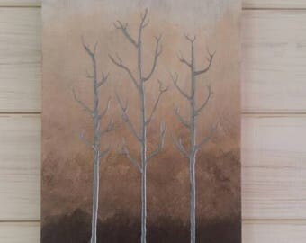 Pewter trees on wood, graduated shades of brown, acrylic painting, bare trees