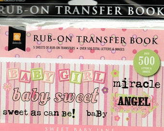 Baby Girl Rub on Transfer Book Scrapbooks Daisy D's  Embellishments Cardmaking Crafts