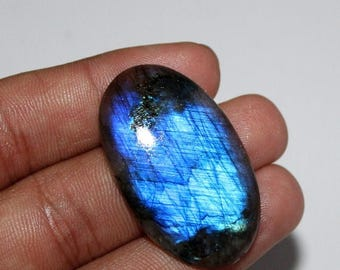 Superb Quality!! 100% Natural Blue Flash Labradorite Smooth  Cabochon Oval Shape 23x38.mm Approx Good Quality On Whole Sale Price { LBCS-07}