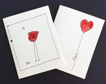 Gift set of 8 watercolor love cards, 2 designs, watercolor and ink, bird and heart, hand drawn images, quarter page cards, red designs