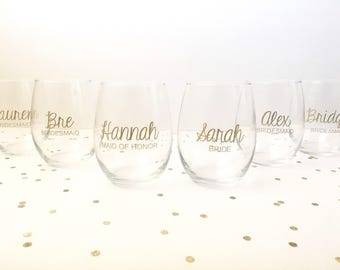 Set of 4 Bridesmaid Wine Glass, Bridal Party Wine Glass, Bride Wine Glass