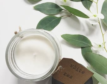 8 oz. White Tea Hand Poured Pure Soy Candle with Cotton Wick