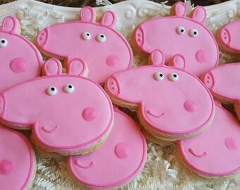 12 Peppa Pig Cookies Party Favors
