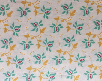 Quilting Cotton Heather Bailey Freshcut Turquoise and gold on cream.  2 2/3 yds available.