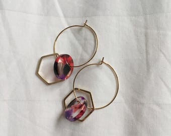 Hoop Earrings with Geometric Pieces