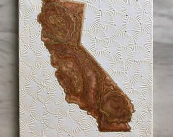 Golden California with Pisanki textured background