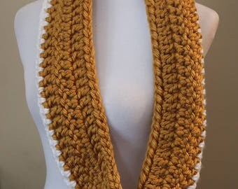 Infinity Scarf | Cowl | Mustard and White | Crochet Scarf