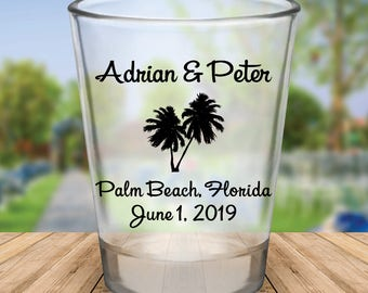 Custom Palm Tree Wedding Favor Shot Glasses