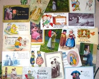20 1905-1917 Victorian Postcards, Romance theme, paper ephemera, Love, Old Scrapbook, Embossed, Victorian scrap, 1900, 1910, scrapbook