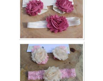 0-3mo, Baby Barefoot Sandals and Headband Set, Elastic Sandals, Baby Accessories, Baby Gift Set, Baby Headband / Flower Headband, 0-3 month