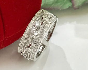 Diamond eternity ring .75ct, antique look, pave setting, milgrain wide band, 14k white gold , wedding band, engagement ring, anniversary rin