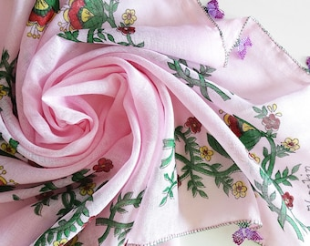 Vintage Needle Lace Scarf, Summer Floral Scarf, Turkish Crochet Scarf, Handmade Cotton Gauze Scarf, Square Pink Shawl