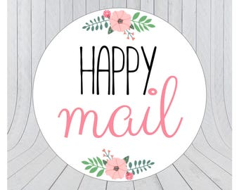 Happy mail stickers, Mail stickers, packaging stickers, Happy mail labels, packaging labels, happy post, delivery stickers, 130