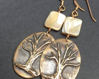 Bronze Tree of Life Earrings with Mother of Pearl