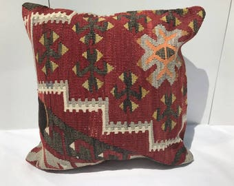 Red Handmade Decorative Kilim Pillow,Living Room Decoration Pillow,Vintage Kilim Pillow, 16x16 inches 40x40 cm