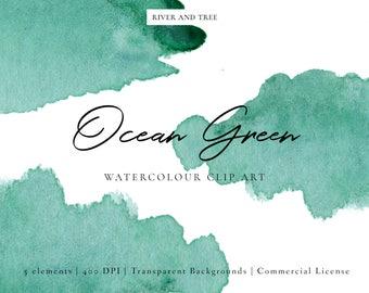 Green Watercolour Clip Art, Watercolour Splashes Clip Art, Watercolour Splotches Clip Art, Ocean Green Clipart, Green Clip Art, Scrapbook