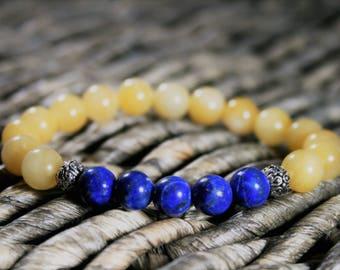 8mm Yellow Jade and Lapis Lazuli Bracelet