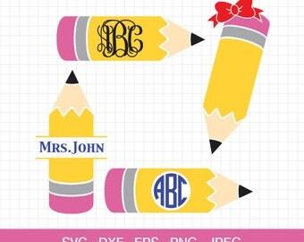 Pencil svg, Pencil Monogram frames, Teacher svg, Teacher Monogram, back to school svg, cut files for Silhouette, Cricut.