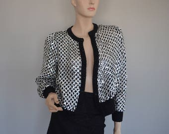 Partique Sequin Black White Disco Jacket 1970's Nieman Marcus Small Cardigan