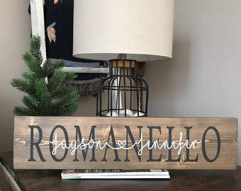 Personalized couples name sign, wedding sign, anniversary sign, master bedroom sign, wedding gift sign