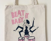 Beat it Baby! Pink and Blue Beatnik Heavyweight Canvas Tote Bag