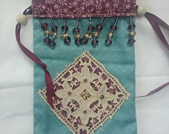 Teal and plum tarot bag, spell card bag, divination pouch, Oracle card bag