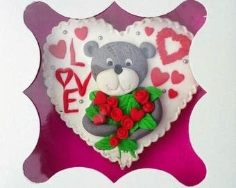 Cookies teddy bear with flowers (cookies heart)