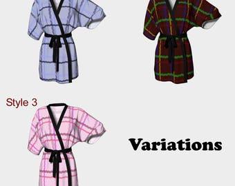 Tartan, Kimono Robe, Dressing Gown, Bridesmaid Robe, Coverup, Spa Robe, Swimsuit Coverup, Robe, Chiffon, Plaid, Celtic, Gaelic, Highlands