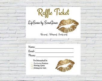 LipSense Raffle Ticket,  Gold Lips, Business Card, Printable, Instant Download, Vendor Show,  Marketing Material, SeneGence, Event Form