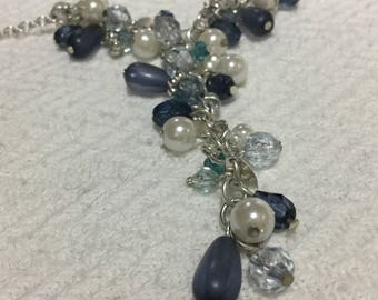 Silver, Blue And Faux Pearl Drop Design Chain Necklace