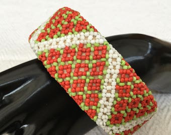 Handmade Wooden Bangle with Orange,White And Green Glass Seed Beads