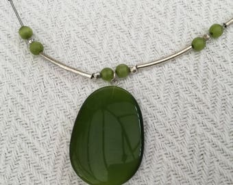 Green Plastic Pendant and Beads, Silver Chain Necklace